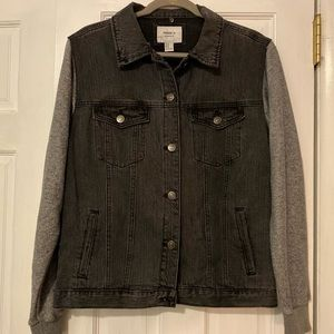 Black Jean Jacket with Grey Cotton Sleeves